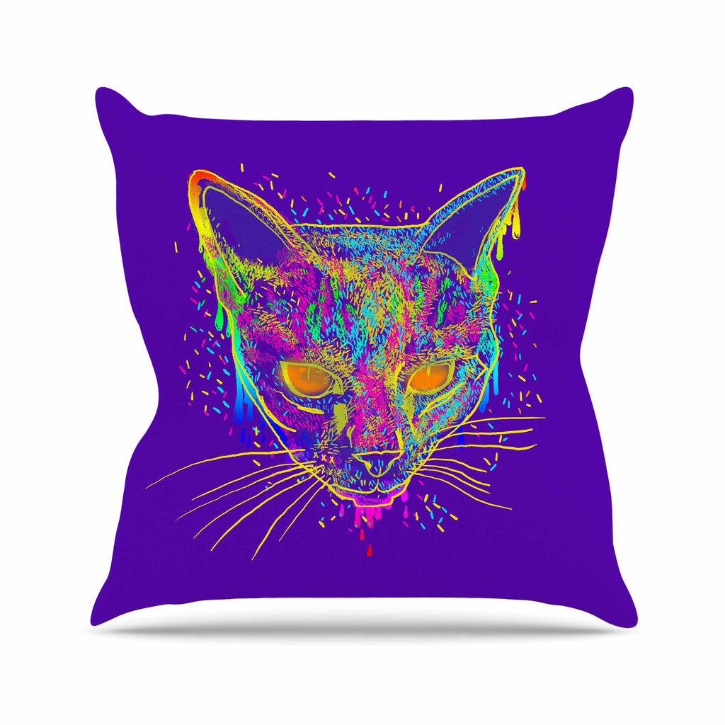 "Frederic Levy-Hadida ""Candy Cat Purple"" Rainbow Purple Throw Pillow - KESS InHouse  - 1"