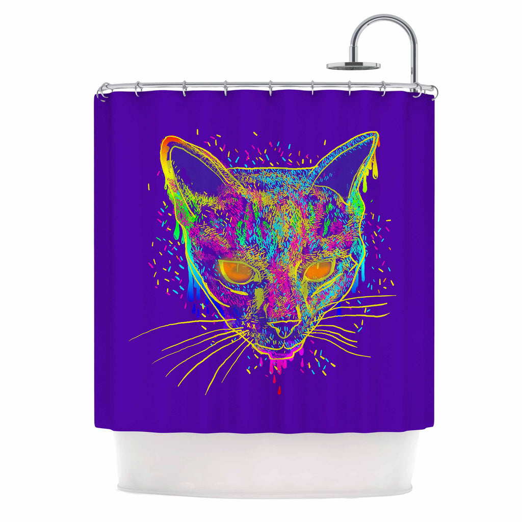 "Frederic Levy-Hadida ""Candy Cat Purple"" Rainbow Purple Shower Curtain - KESS InHouse"