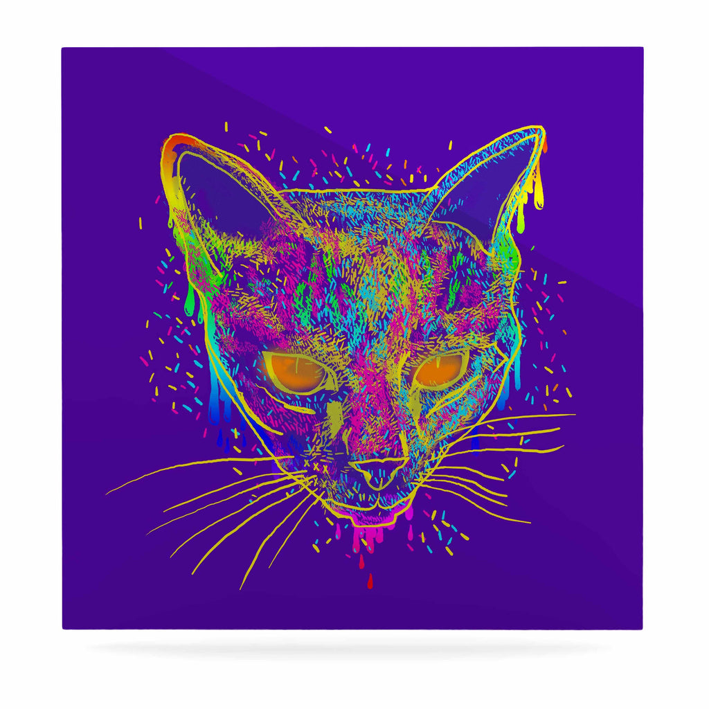 "Frederic Levy-Hadida ""Candy Cat Purple"" Rainbow Purple Luxe Square Panel - KESS InHouse  - 1"