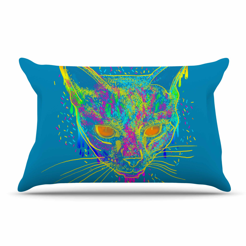 "Frederic Levy-Hadida ""Candy Cat Blue"" Blue Rainbow Pillow Sham"