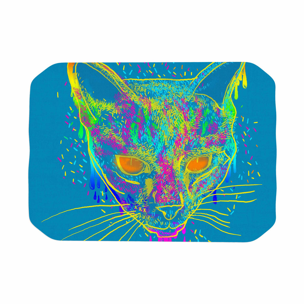 "Frederic Levy-Hadida ""Candy Cat Blue"" Blue Rainbow Place Mat - KESS InHouse"