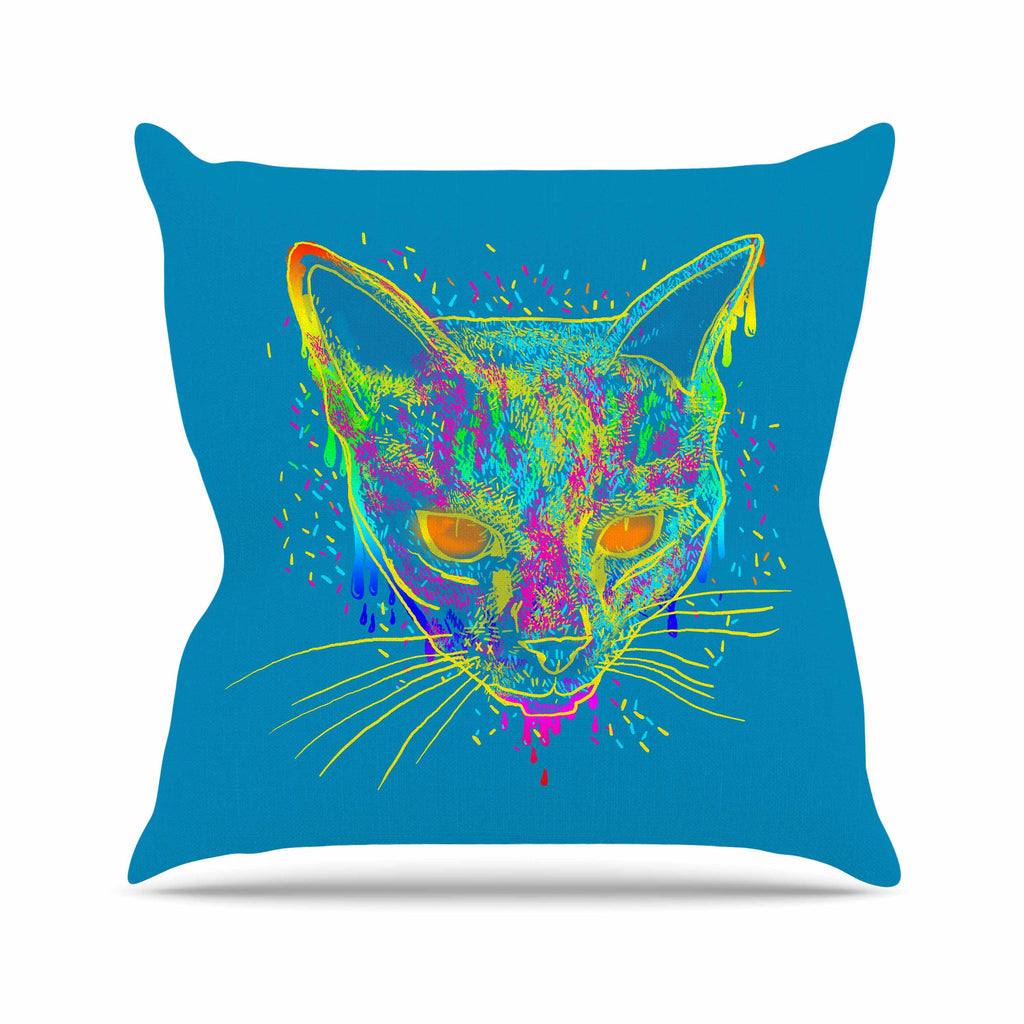 "Frederic Levy-Hadida ""Candy Cat Blue"" Blue Rainbow Outdoor Throw Pillow - KESS InHouse  - 1"
