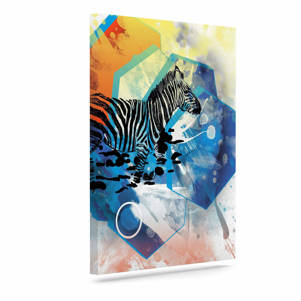 "Frederic Levy-Hadida ""Walk Off The Colors"" Multicolor Zebra Canvas Art - KESS InHouse  - 1"