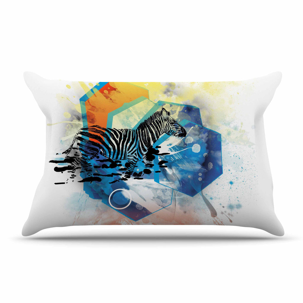"Frederic Levy-Hadida ""Walk Off The Colors"" Multicolor Zebra Pillow Sham - KESS InHouse"