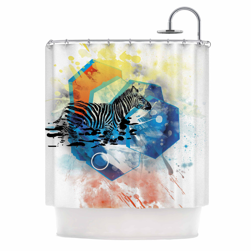 "Frederic Levy-Hadida ""Walk Off The Colors"" Multicolor Zebra Shower Curtain - KESS InHouse"