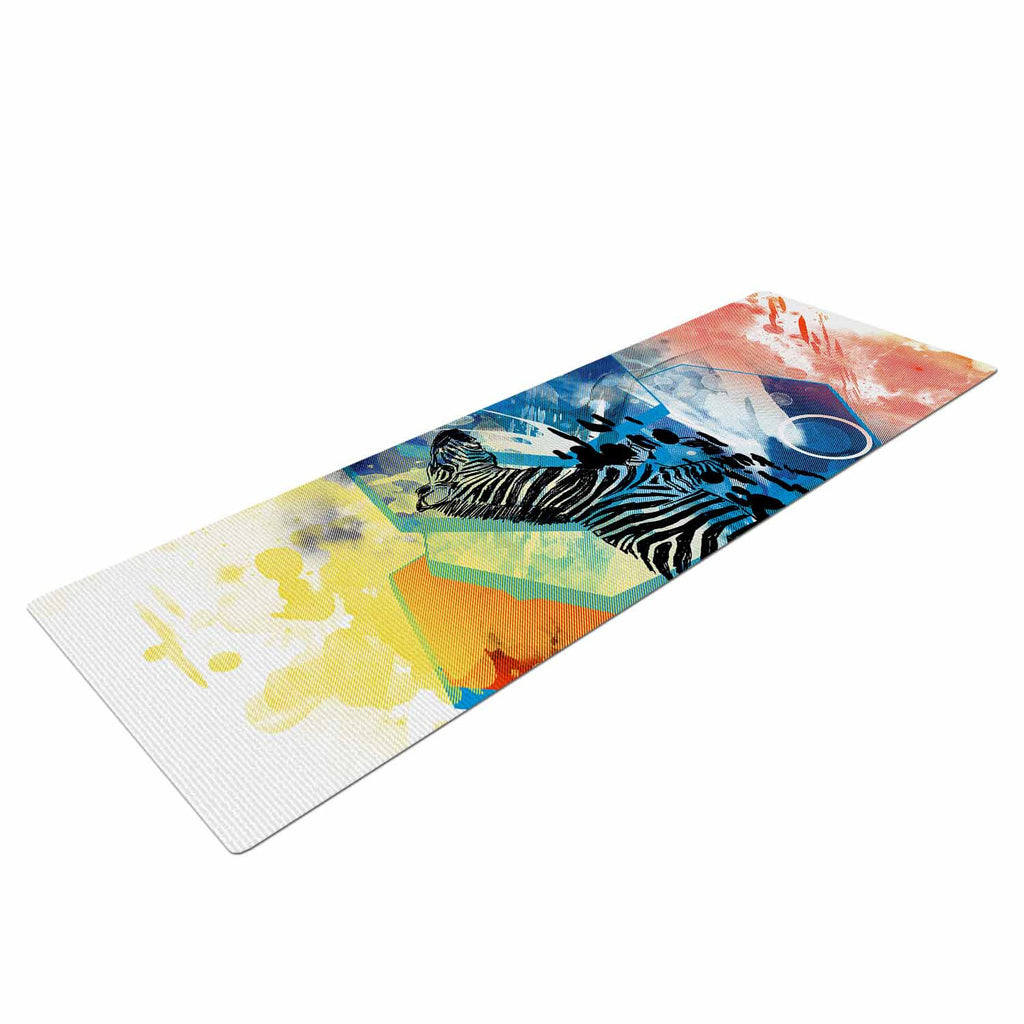"Frederic Levy-Hadida ""Walk Off The Colors"" Multicolor Zebra Yoga Mat - KESS InHouse  - 1"