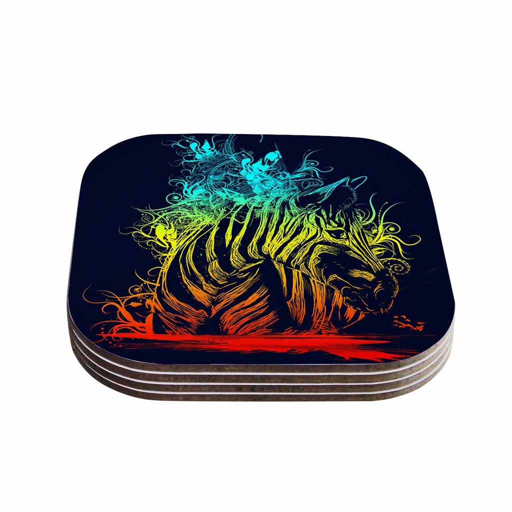 "Frederic Levy-Hadida ""Wild Nature"" Rainbow Zebra Coasters (Set of 4)"