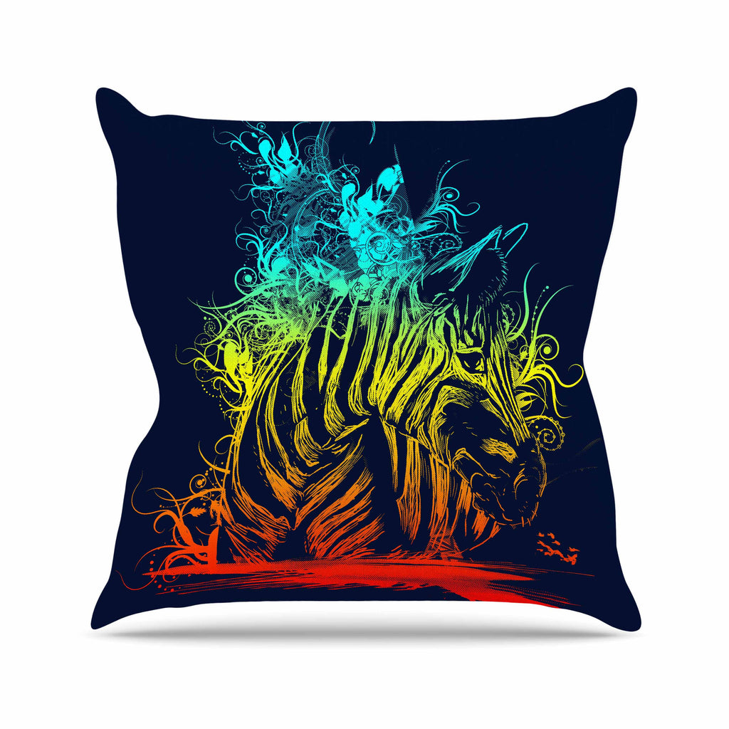 "Frederic Levy-Hadida ""Wild Nature"" Rainbow Zebra Outdoor Throw Pillow - KESS InHouse  - 1"