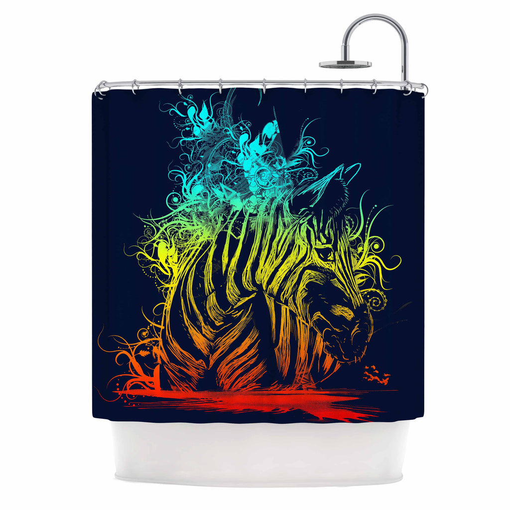 "Frederic Levy-Hadida ""Wild Nature"" Rainbow Zebra Shower Curtain - KESS InHouse"