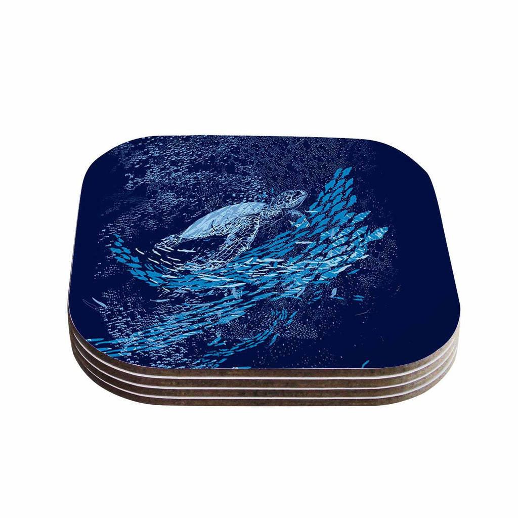 "Frederic Levy-Hadida ""The Turtle Way"" Aqua Blue Coasters (Set of 4)"