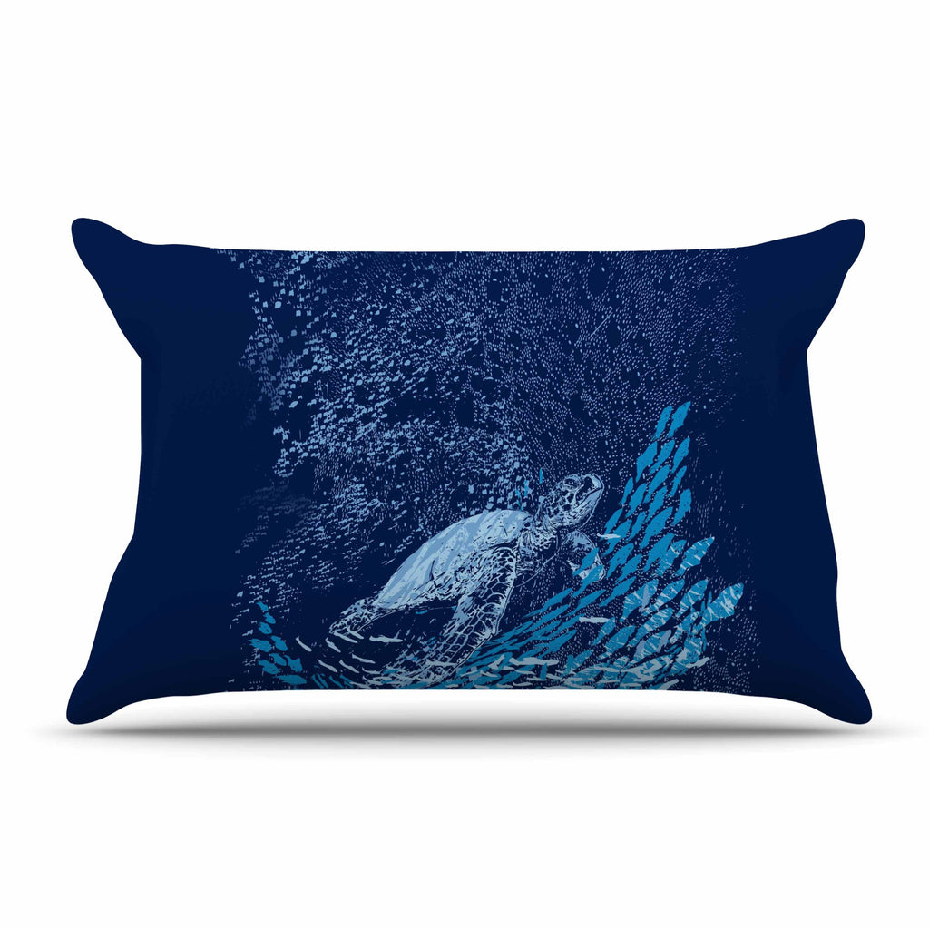 "Frederic Levy-Hadida ""The Turtle Way"" Aqua Blue Pillow Sham - KESS InHouse"