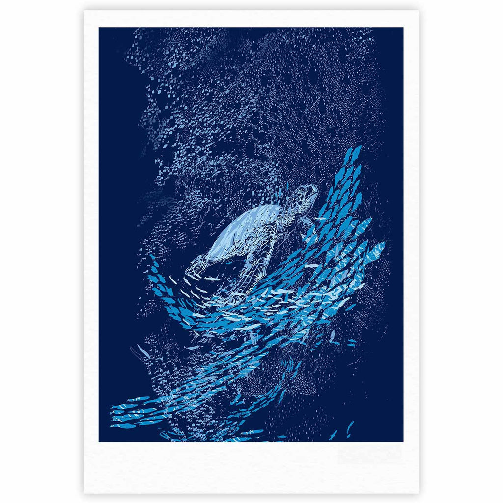 "Frederic Levy-Hadida ""The Turtle Way"" Aqua Blue Fine Art Gallery Print - KESS InHouse"