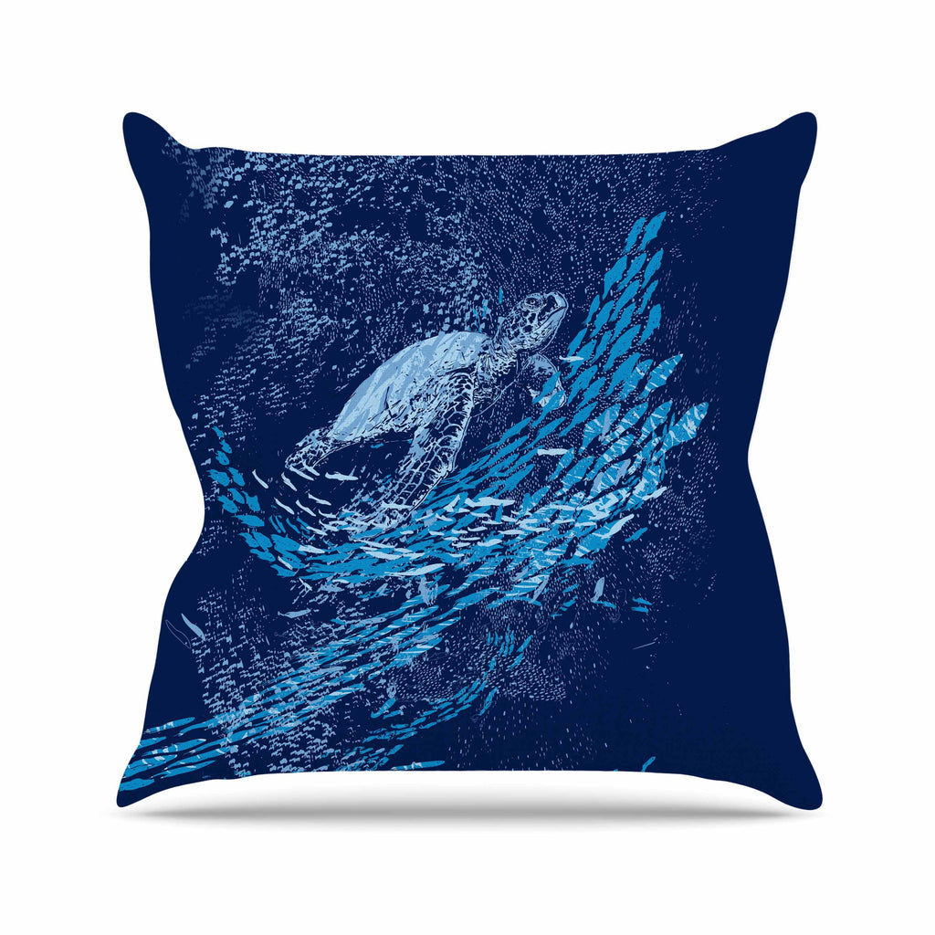 "Frederic Levy-Hadida ""The Turtle Way"" Aqua Blue Outdoor Throw Pillow - KESS InHouse  - 1"