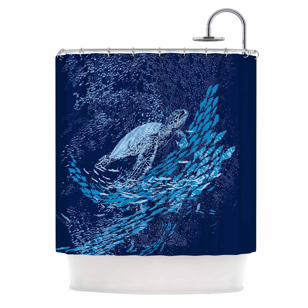 "Frederic Levy-Hadida ""The Turtle Way"" Aqua Blue Shower Curtain - KESS InHouse"