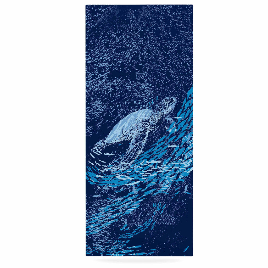 "Frederic Levy-Hadida ""The Turtle Way"" Aqua Blue Luxe Rectangle Panel - KESS InHouse  - 1"