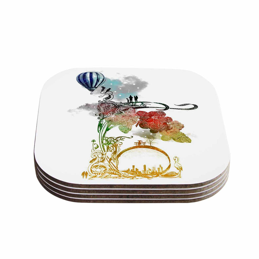 "Frederic Levy-Hadida ""A Little Paradise"" White Multicolor Coasters (Set of 4)"