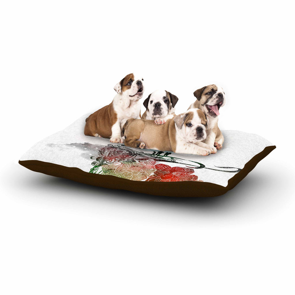 "Frederic Levy-Hadida ""A Little Paradise"" White Multicolor Dog Bed - KESS InHouse  - 1"
