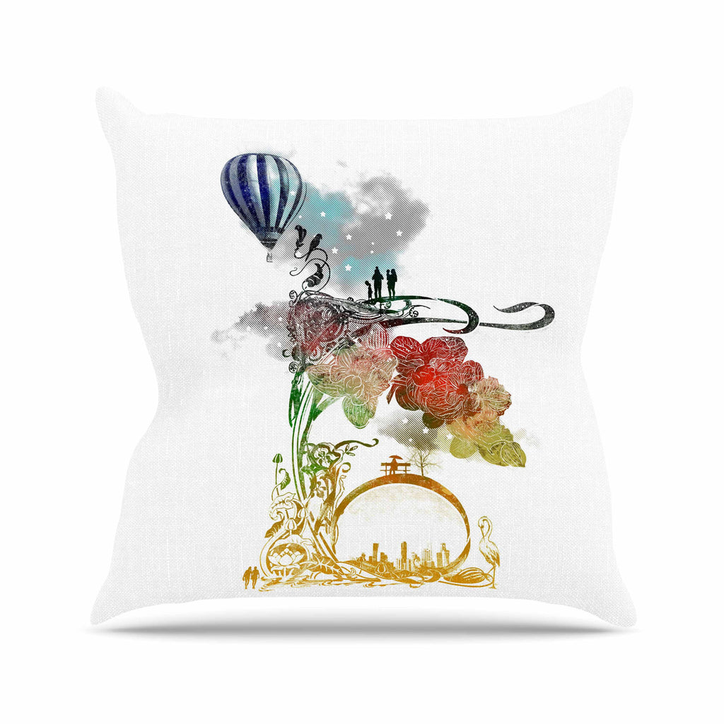 "Frederic Levy-Hadida ""A Little Paradise"" White Multicolor Outdoor Throw Pillow - KESS InHouse  - 1"