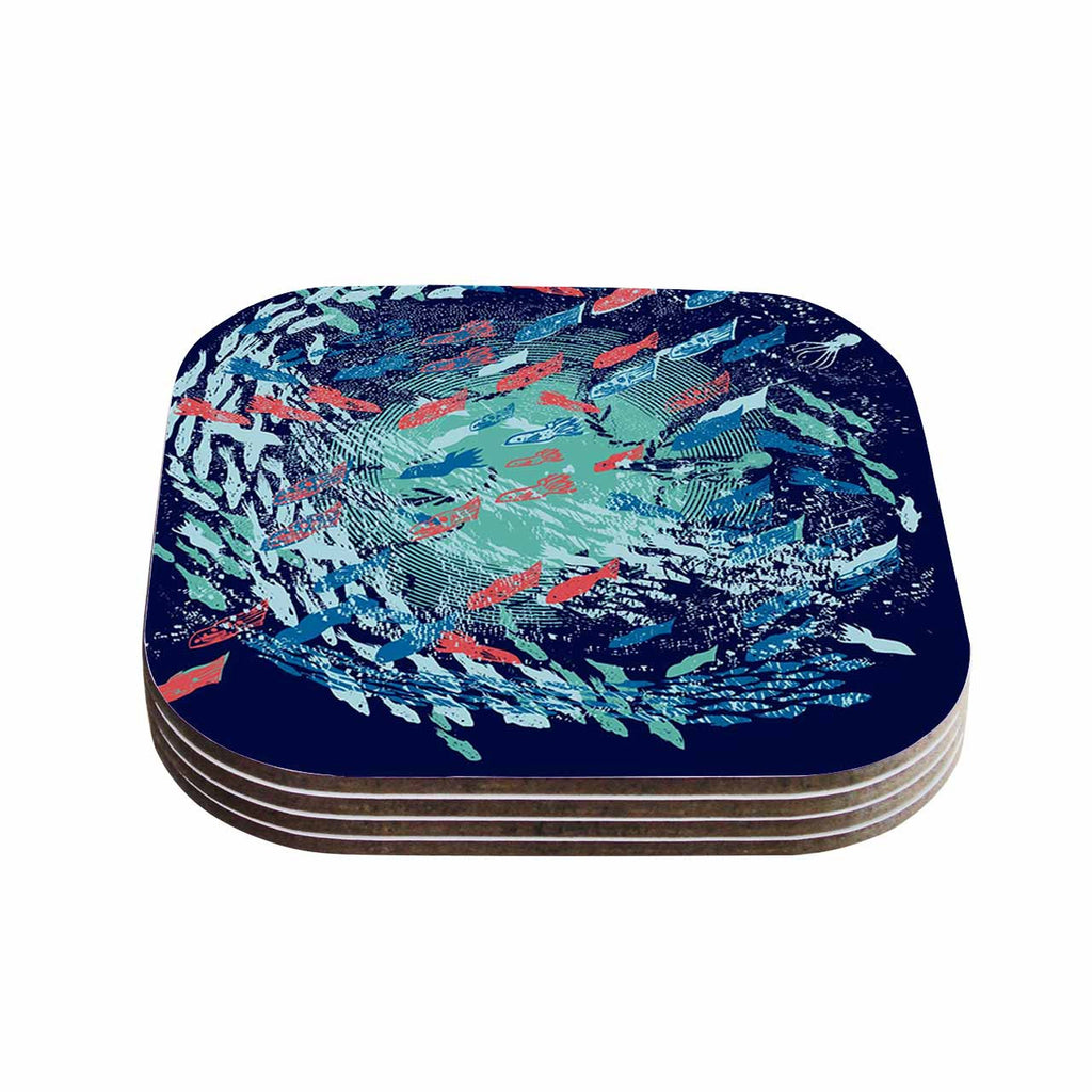 "Frederic Levy-Hadida ""Underwater Life - Blue"" Blue Fish Coasters (Set of 4)"