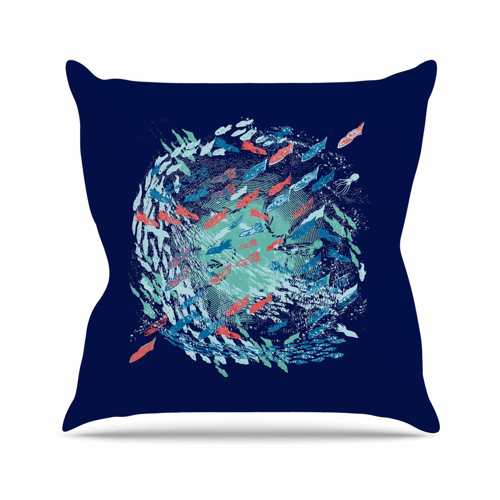 "Frederic Levy-Hadida ""Underwater Life - Blue"" Blue Fish Outdoor Throw Pillow - KESS InHouse  - 1"