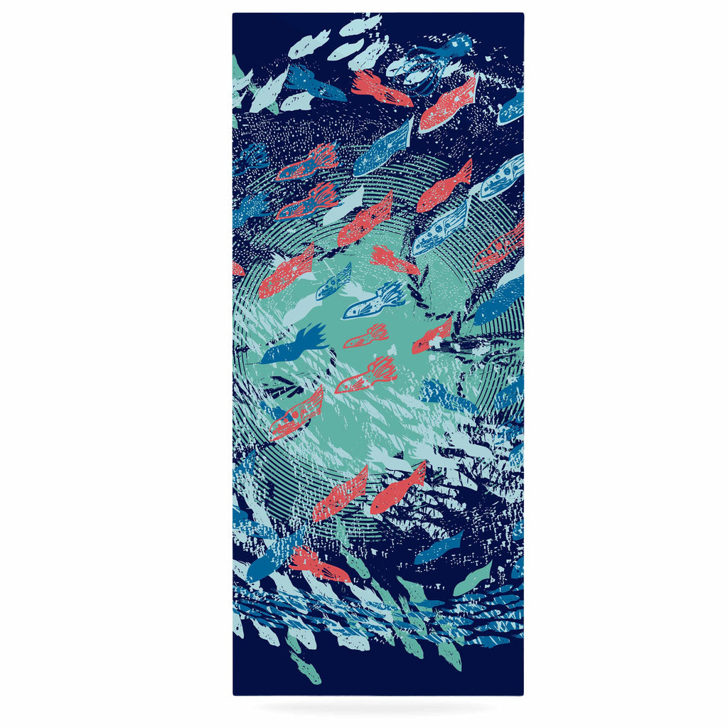 "Frederic Levy-Hadida ""Underwater Life - Blue"" Blue Fish Luxe Rectangle Panel - KESS InHouse  - 1"