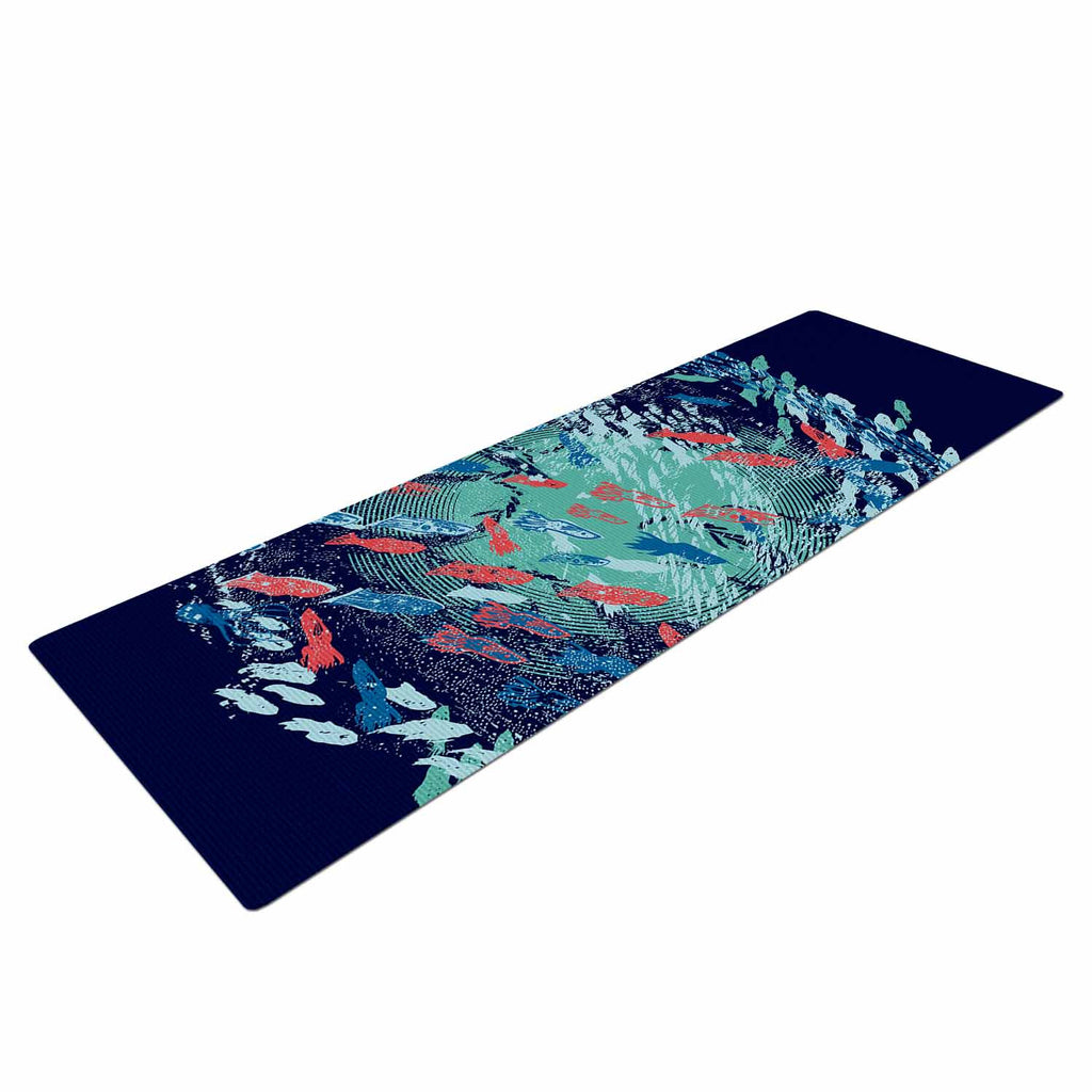 "Frederic Levy-Hadida ""Underwater Life - Blue"" Blue Fish Yoga Mat - KESS InHouse  - 1"