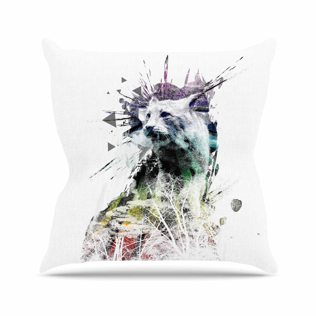 "Frederic Levy-Hadida ""Predation Instinct"" Multicolor Cat Outdoor Throw Pillow - KESS InHouse  - 1"