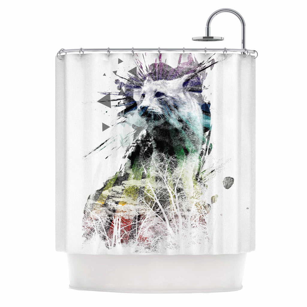 "Frederic Levy-Hadida ""Predation Instinct"" Multicolor Cat Shower Curtain - KESS InHouse"