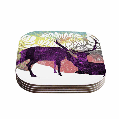 "Frederic Levy-Hadida ""Tenderness"" White Purple Coasters (Set of 4) - Outlet Item"