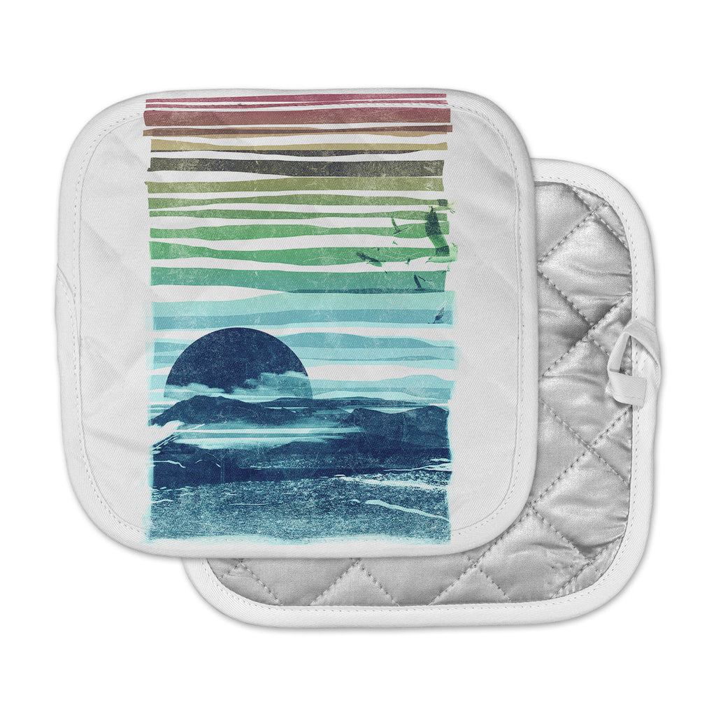 "Frederic Levy-Hadida ""Sea Scape"" Blue Stripes Pot Holder"