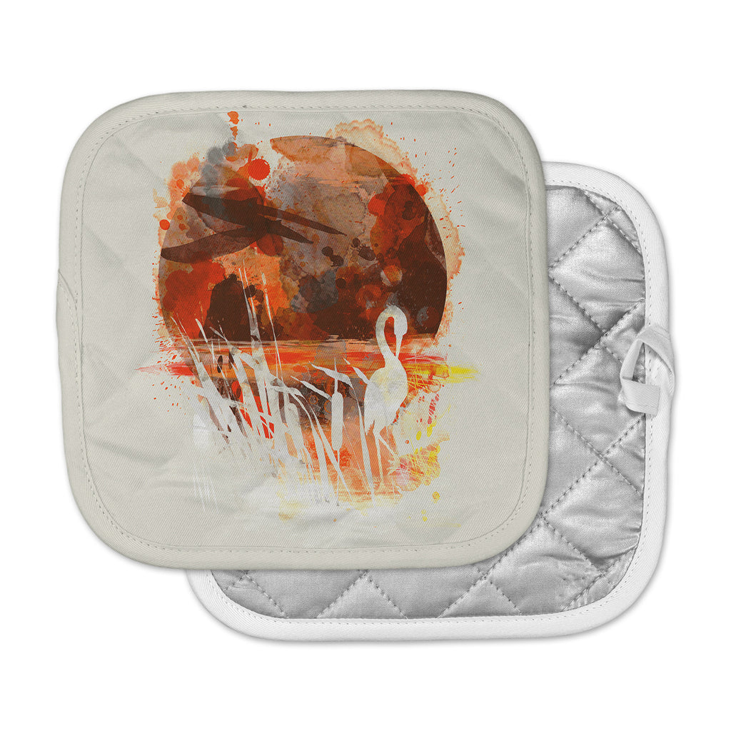 "Frederic Levy-Hadida ""Moon Painted With Tea"" Beige Orange Digital Pot Holder"
