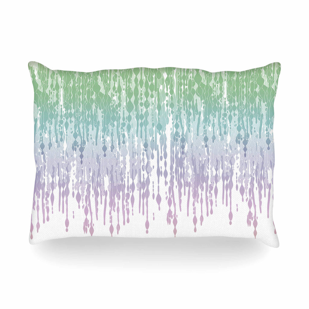 "Frederic Levy-Hadida ""Rainbow Drops"" Pastel Blue Digital Oblong Pillow - KESS InHouse"