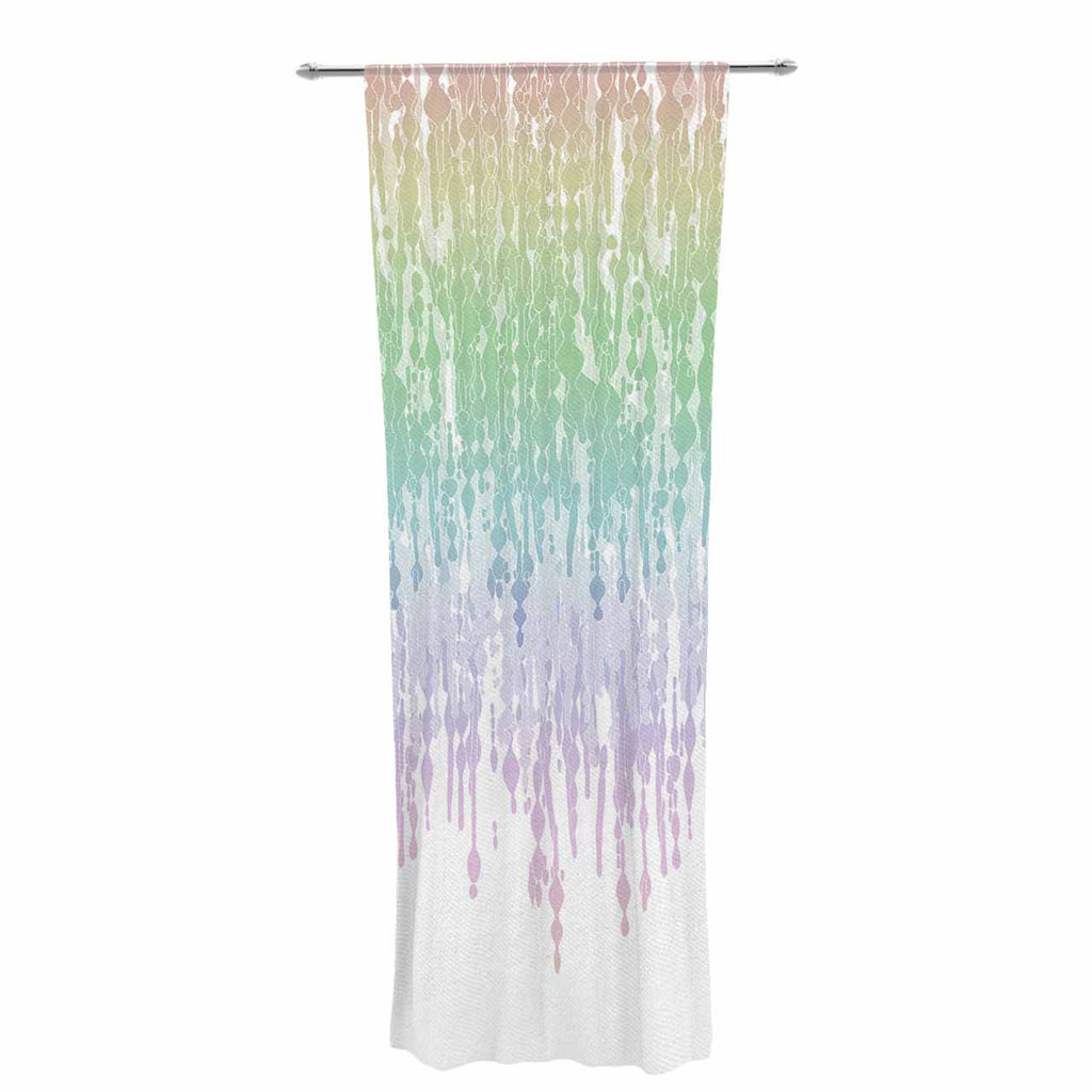 "Frederic Levy-Hadida ""Rainbow Drops"" Pastel Blue Digital Decorative Sheer Curtain - KESS InHouse  - 1"