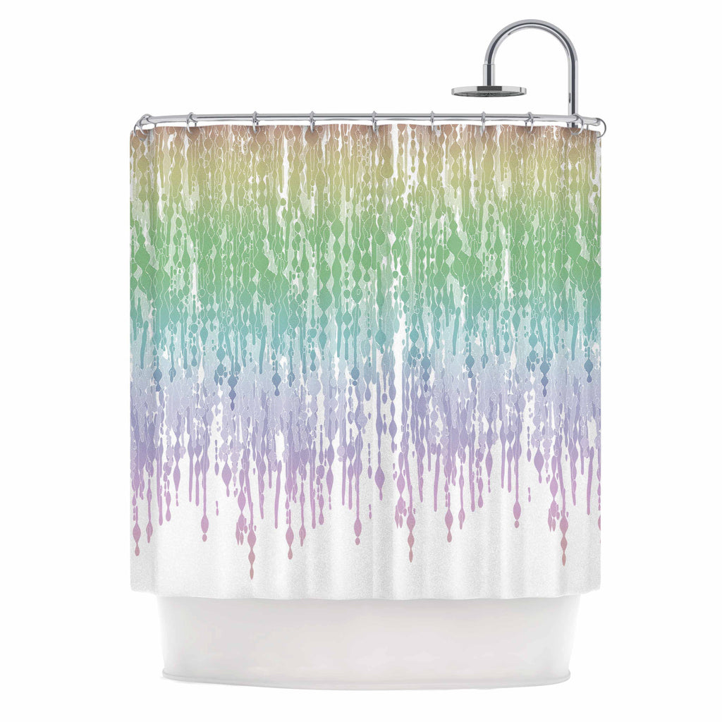 "Frederic Levy-Hadida ""Rainbow Drops"" Pastel Blue Digital Shower Curtain - KESS InHouse"