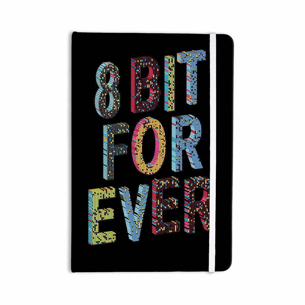 "Frederic Levy-Hadida ""8 Bit For Ever"" Black Purple Digital Everything Notebook - KESS InHouse  - 1"