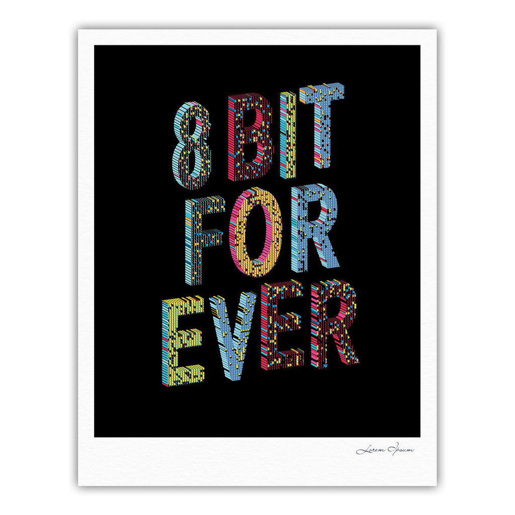 "Frederic Levy-Hadida ""8 Bit For Ever"" Black Purple Digital Fine Art Gallery Print"