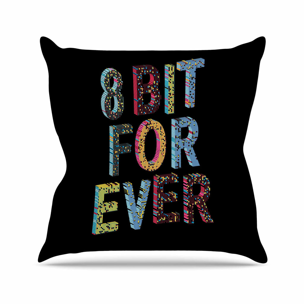 "Frederic Levy-Hadida ""8 Bit For Ever"" Black Purple Digital Outdoor Throw Pillow - KESS InHouse  - 1"