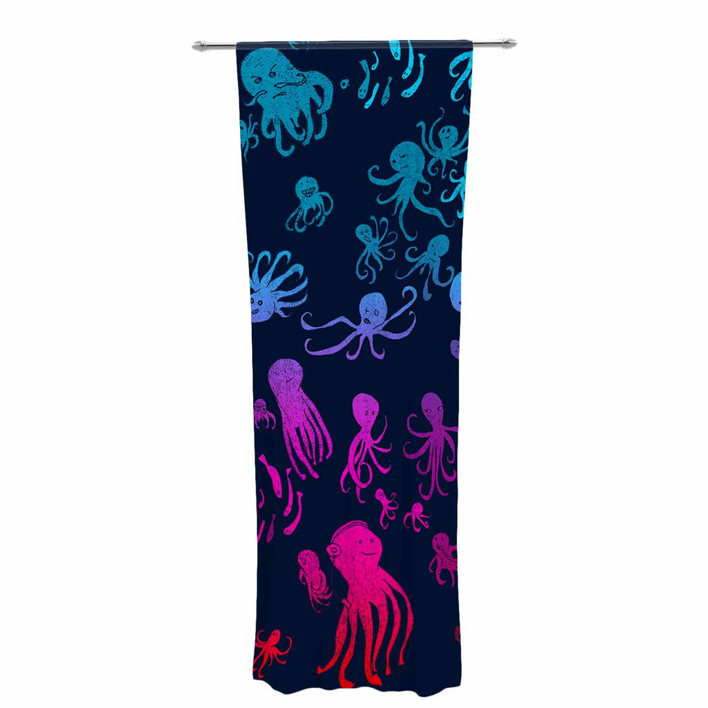 "Frederic Levy-Hadida ""Octocrowdy"" Blue Pink Digital Decorative Sheer Curtain - KESS InHouse  - 1"