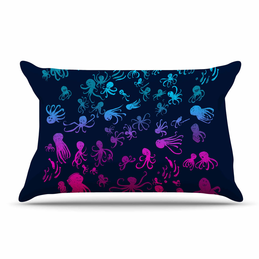 "Frederic Levy-Hadida ""Octocrowdy"" Blue Pink Digital Pillow Sham - KESS InHouse  - 1"