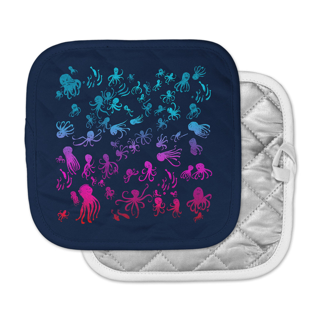 "Frederic Levy-Hadida ""Octocrowdy"" Blue Pink Digital Pot Holder"