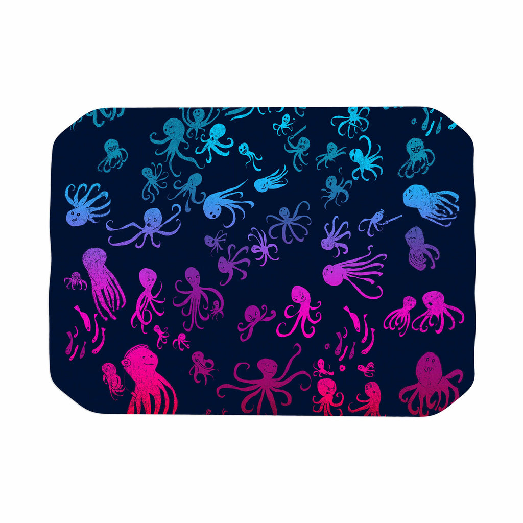 "Frederic Levy-Hadida ""Octocrowdy"" Blue Pink Digital Place Mat - KESS InHouse"