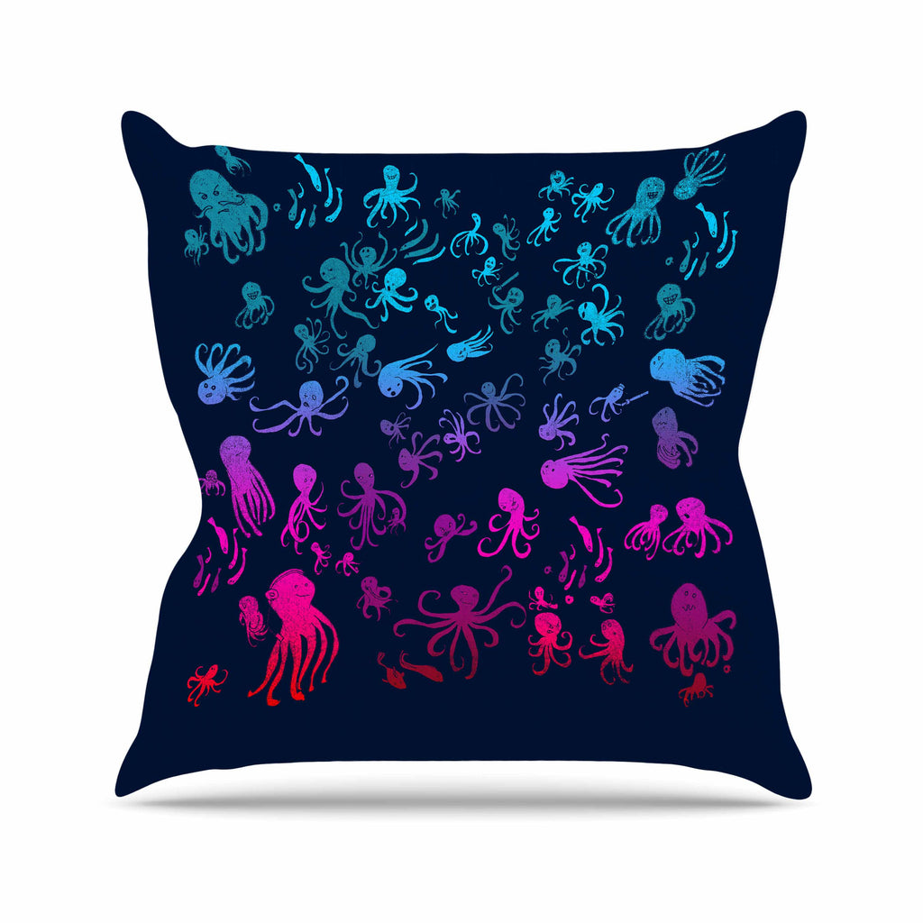 "Frederic Levy-Hadida ""Octocrowdy"" Blue Pink Digital Outdoor Throw Pillow - KESS InHouse  - 1"