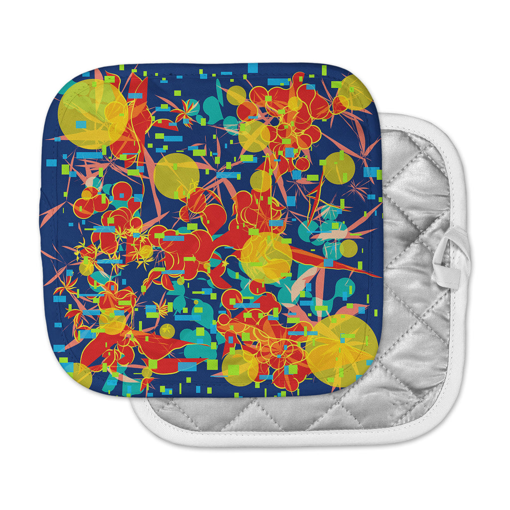 "Frederic Levy-Hadida ""Foliage Folie 2"" Blue Orange Digital Pot Holder"