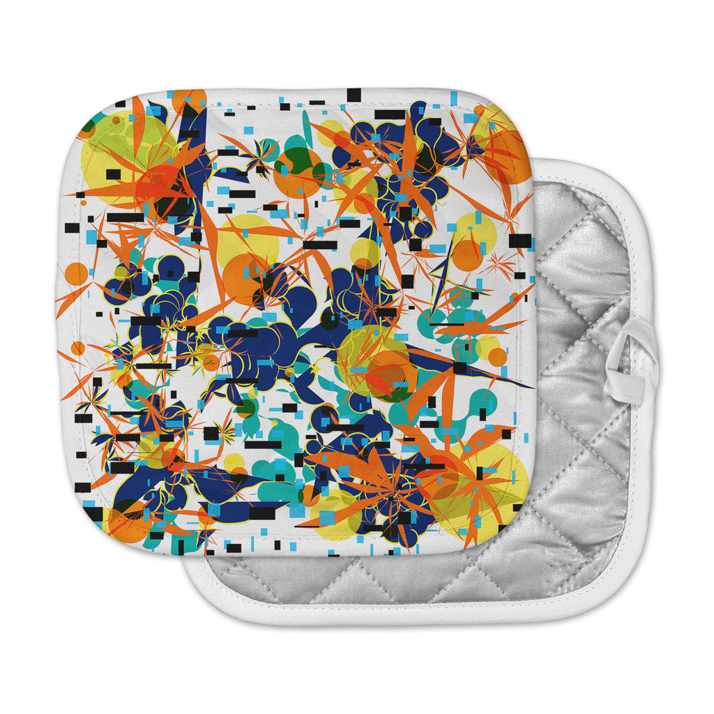"Frederic Levy-Hadida ""Foliage Folie 1"" Orange White Digital Pot Holder"