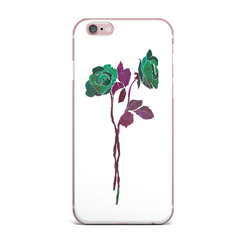 "Frederic Levy-Hadida ""2 Dark Roses"" Green Purple Digital iPhone Case"