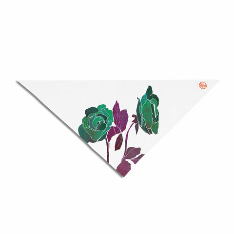 "Frederic Levy-Hadida ""2 Dark Roses"" Green Purple Digital Pet Bandana"