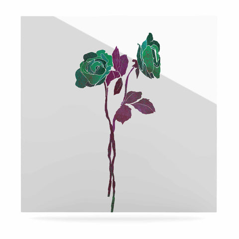 "Frederic Levy-Hadida ""2 Dark Roses"" Green Purple Digital Luxe Square Panel"