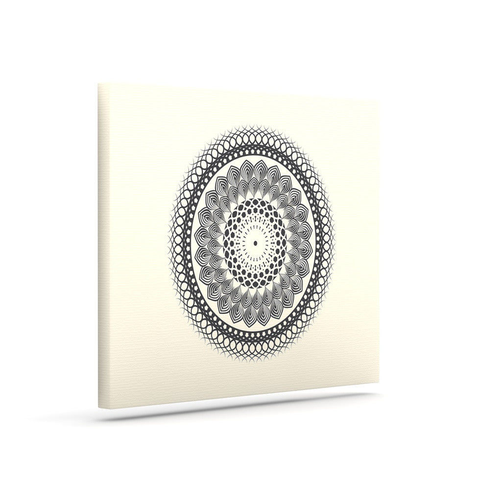 "Famenxt ""Black & White Boho Mandala"" Geometric Canvas Art - KESS InHouse  - 1"