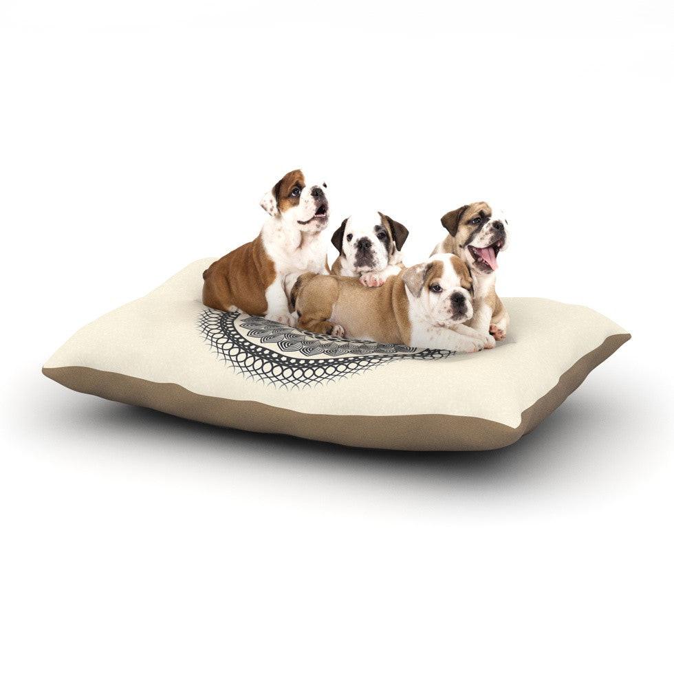 "Famenxt ""Black & White Boho Mandala"" Geometric Dog Bed - KESS InHouse  - 1"