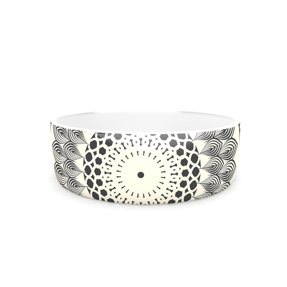 "Famenxt ""Black & White Boho Mandala"" Geometric Pet Bowl - KESS InHouse"